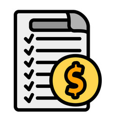 Invoice icon in filled line style for any vector