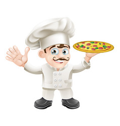 Italian pizza chef cartoon vector