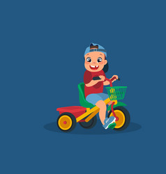 little boy on a tricycle cartoon design vector image