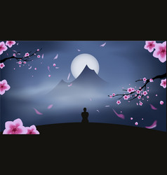 Man silhouette meditating in serene landscape vector