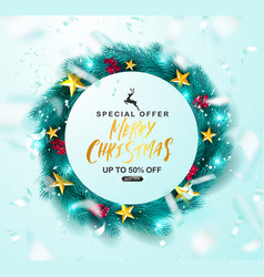 merry christmas sale postergreen christmas wreath vector image
