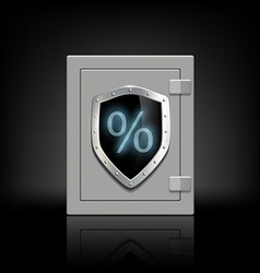 Metal safe with a shield which shows the percent vector