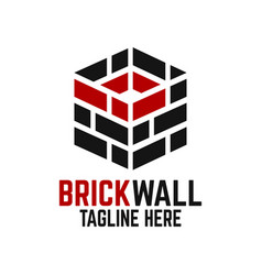 modern brick wall and letter b logo vector image