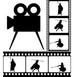 movie camera and films vector image