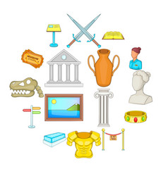 museum icons set cartoon style vector image
