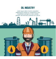 Oil industry with worker and factory icons vector