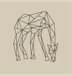 origami polygonal style giraffe with head down vector image