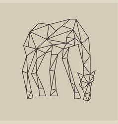 Origami polygonal style giraffe with head down vector