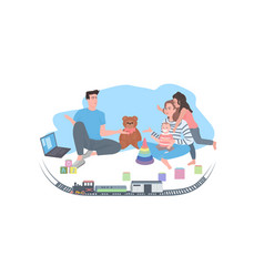 parents with children spending time together vector image