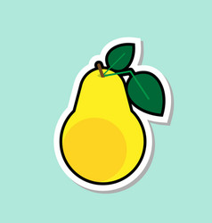 Pear sticker on blue background colorful fruit vector