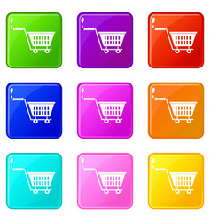 Plastic shopping trolley icons 9 set vector