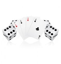 playing cards with dices vector image