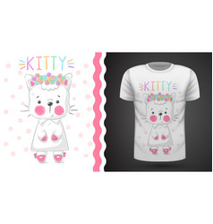 Pretty kittty idea for print t-shirt vector