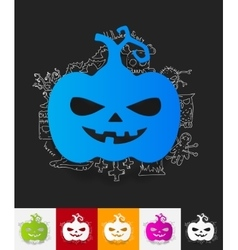 pumpkin paper sticker with hand drawn elements vector image