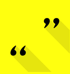 quote sign black icon with flat vector image