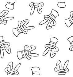 rabbit and hat circus doodles vector image