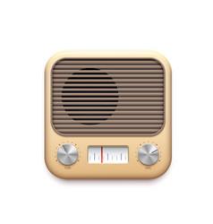 Retro fm radio music app icon podcast audio vector