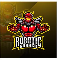 Robotic gunner mascot logo design vector