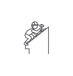 Roof repair line icon sign vector