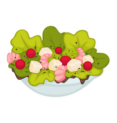 Salad with shrimps green leaves and cherry vector