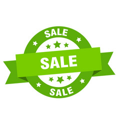 sale ribbon sale round green sign sale vector image