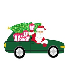 Santa Claus driving car with Christmas gift vector image