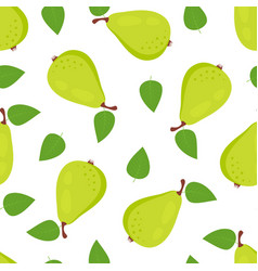 seamless pattern with pears isolated on white vector image