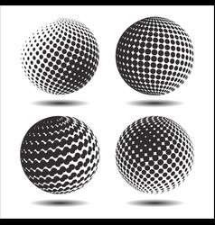set abstract halftone 3d spheres 25 vector image