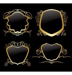 Set of golden frames on vintage decorations vector