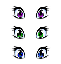 set of manga anime style eyes in green blue and vector image