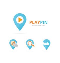 set of map pointer logo combination gps locator vector image