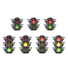 set realistic traffic lights for cars vector image