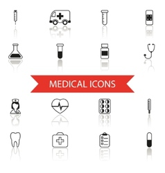 Simple Medical Icons and Symbols Set Isolated with vector