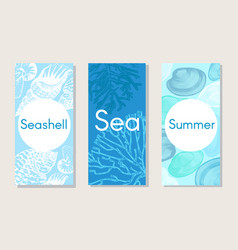Sketch marine nature vertical banners vector