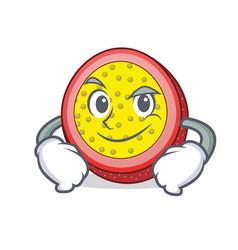 Smirking passion fruit character cartoon vector