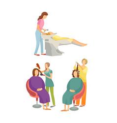 Spa salon hairdressers hair styling set vector