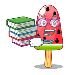 Student with book ice cream watermelon on shape vector