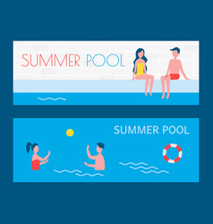 summer pool vacation of people vector image