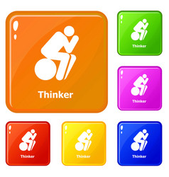 Thinker icons set color vector