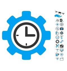 Time Setup Gear Icon With Air Drone Tools Bonus vector