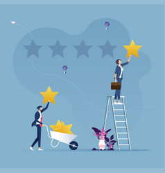two businessmen giving stars rating-customer vector image