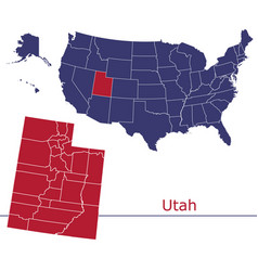 Utah map counties with usa map vector