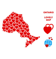 Valentine ontario province map mosaic of vector