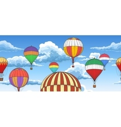 Vintage hot air balloons pattern vector image