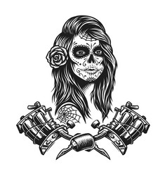 Vintage monochrome tattoo template vector