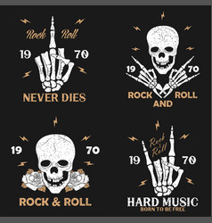 Vintage rock-n-roll t-shirt graphics set vector