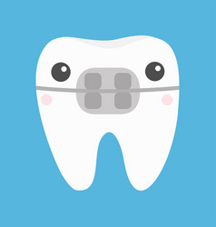 White tooth braces icon cute cartoon kawaii funny vector