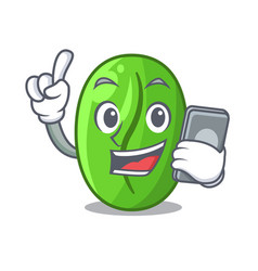 With phone character green coffee beans in market vector