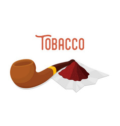 Wooden pipe with pinch melted tobacco vector