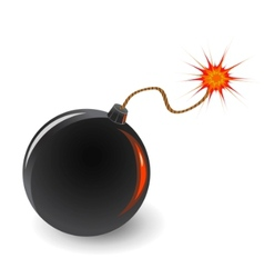 bomb with burning fuse vector image vector image